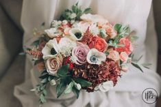 Floral design at it's best, using 2019 color of the year, Living Cora. Bridal Bouquet Coral, Live Coral, Love Me Like, Asymmetrical Design, Color Of The Year, Summer Wedding, Floral Design, Floral Wreath, Bride