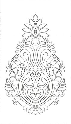 Carving Designs, Stencil Designs, Paint Designs, Hand Embroidery Design Patterns, Embroidery Motifs, Paisley Embroidery, Islamic Art Pattern, Pattern Art, Alpona Design