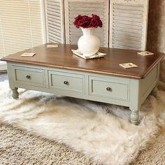 Coffee Table grey wooden drawer storage living room conservatory chic SECOND 524 in Home, Furniture & DIY, Furniture, Tables | eBay