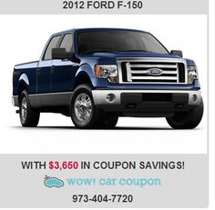 Take a look at this fantastic #FordF-150 with incredible #savings!! Save up to $3,650 in #coupons !! Check us online www.wowcarcoupon.com!! #wowcarcoupon