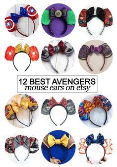 12 Best Avengers Inspired Mouse Ears on etsy - Kiss My Tulle Diy Mickey Mouse Ears, Diy Disney Ears, Disney Mickey Ears, Disney Diy, Disney Crafts, Baby Disney, Disney Trips, Disney Stuff, Disney World Christmas