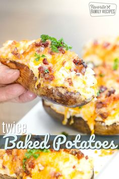 Twice Baked Potatoes are a real treat! Fluffy mashed potatoes, cheese and bacon … Twice Baked Potatoes are a real treat! Fluffy mashed potatoes, cheese and bacon stuffed into a baked potato shell. A perfect side dish or appetizer for any occasion! Easy Twice Baked Potatoes, Parmesan Baked Potatoes, Baked Potato Recipes, Crack Potatoes, Baked Potato Slices, Cheesy Potatoes, Super Bowl Essen, Fluffy Mashed Potatoes, Cooking Recipes