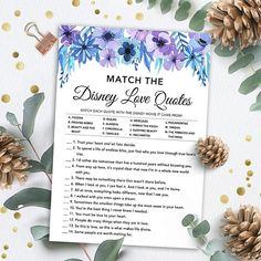 PRODUCT #017: Match the Disney Love Quotes - Blue and Purple Watercolor High-resolution printable wedding shower game. THIS LISTING IS FOR A DIGITAL DOWNLOAD ONLY: Read about Etsy instant downloads here: www.etsy.com/help/article/3949 For more wedding shower games and bachelorette