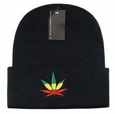 86d4fcc13b3 Black Rasta Weed Leaf Pot Cannabis Marijuana Cuffed Beanie Beanies Cap Hat  Hats  9.95 Buy It Now Free shipping