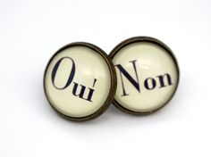 French Earrings 'Oui' and 'Non' Antique Bronze by BeneathGlass, $11.90