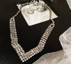 Absolutely stunning 1930's pave necklace and earrings set, art deco diamanté necklace and earrings, vintage decadent pave stone jewellery by StolenAttic on Etsy