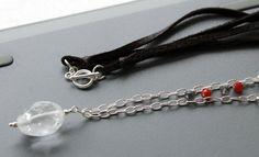 Crystal Quartz gemstone leather necklace  April by EverywhereUR