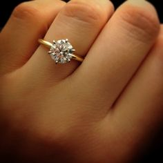My ring! Six-Prong Low Dome Comfort Fit Solitaire Engagement Ring in Gold with a Platinum setting.