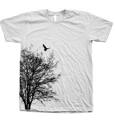 Baum T Shirt Herren Unisex Hand Screen Print American Apparel Rundhalsausschnitt, 100 % Baumwolle verfügbar: S, M, L, XL, XXL 26 Farboption