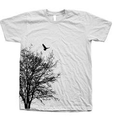 Tree Tshirt Mens Unisex Hand Screen Print American Apparel Crew Neck Available: S, M, L, XL, XXL 26 Color Option