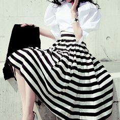 Stripes. Puffy Sleeves. The definition of Chic.