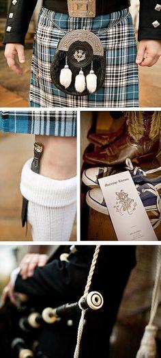 Scottish themes wedding #kilt #bagpipes   via http://darlingbelleevents.blogspot.co.uk/2012/03/featured-wedding-anna-josh-country.html