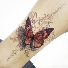 Butterfly, mandala, tattoo
