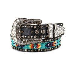 Angel Ranch Women's Aztec Beaded Leather Belt