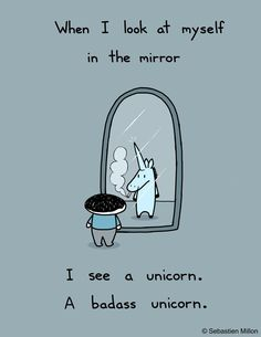 When I Look at Myself in the Mirror, I see a unicorn. A badass unicorn.   by *sebreg on deviantART