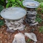 stacked stone bird baths, outdoor living, repurposing upcycling, The lids I had were different sizes so I made the bases larger or smaller to fit the lid Also vary the heights to add interest