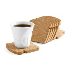 Fun toast-shaped cork comes packaged like a loaf of multigrain bread and is designed to be used as coasters and trivets. via MoMA Store The Coasters, Drink Coasters, Funny Coasters, Moma Store, Gravure Laser, Ideias Diy, Gifts Under 10, Coaster Furniture, Deco Design