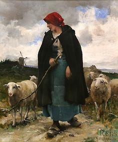 Julien Dupres (1851-1910) The Shepherdess