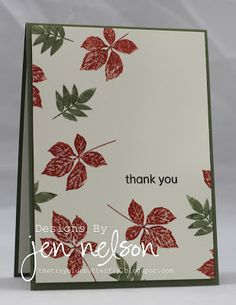 By Jen Nelson. Stamp leaves in red and green on white cardstock panel. Pop up on card base. Easy!
