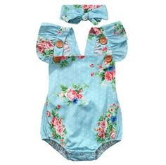 Baby Blue Floral Fly Sleeve Romper avalible on our site, link is in our bio!