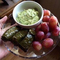 "A wee ""goodbye"" get together with a couple of my family members! They brought fruit, vegetables, and food from one of my favorite places, Pure Pita! So here is my first wee plate of many, which has grape leaves, California hummus, and grapes! #purepita #grapes #fruit #vegan #healthy #grapeleaves #california #hummus #tahini #rice #redgrapes #goingbackforseconds #evoo #chickpeas #vegetarian #jalapeno #cilantro #yummy #oliveoil #feast #eatclean #delicious #roundone #theoriginalpurepita…"