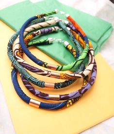 African Print Rope Necklace african fabric ankara by Khokhodesigns, $25.00