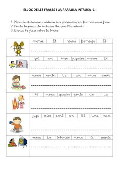 Title: EL JOC DE LES FRASES I LA PARAULA INTRUSA, Author: Montse ns, Length: 9 pages, Published: Spanish Lessons Online, Learn Spanish Online, Learning Spanish, Valencia, Catalan Language, All About Me Worksheet, Learning Sight Words, Preschool Education, Spanish Classroom