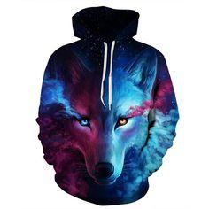 Hot Clothing Men/women Hoodies Cap Hooded 3d Men Sweatshirt Print Angry Wolf Hoody