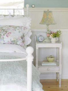 Details, such as eyelet trim on pillowcases and buttons glued to the edge of a lampshade, sweeten the look. Keep it simple for fresh cottage style.