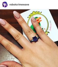Funhouse Labs Matte Black Violet Octagon Multi Stone Bling Ring on Thea. Stone Rings, Labs, Matte Black, Lavender, Bling, Purple, Happy, Jewelry, Jewellery Making