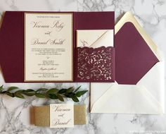 Burgundy and Gold Laser Cut Pocket Wedding Invitation