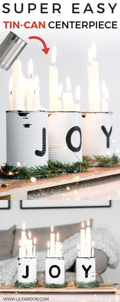 Here's an easy tin can centerpiece you can make for Christmas! Perfect if you're in a rush and great for gift giving as well! Here's an easy tin can centerpiece you can make for Christmas! Perfect if you're in a rush and great for gift giving as well! Tin Can Centerpieces, Christmas Centerpieces, Tin Can Decorations, Recycled Christmas Decorations, Recycled Tin Cans, Recycled Crafts, Christmas Craft Fair, All Things Christmas, Christmas Time