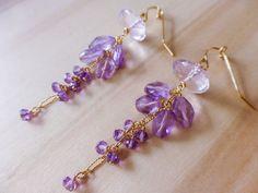 AAA Pink Quartz /& Lavender Chalcedony Vine Earrings  Gold Filled  Gemstone Dangles  Artisan Jewelry  Gift For Her