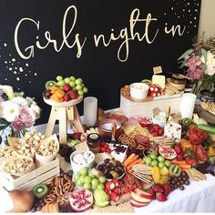 Platter, party entertainment, girls night appetizers, girls night snacks, f Party Platters, Cheese Platters, Cheese Table, Girls Night Appetizers, Girls Night Food, Girl Night, Ladies Night, Party Appetizers, Grazing Tables