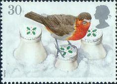 Christmas Robins 30p Stamp (1995) European Robin on Snow-covered Milk Bottles