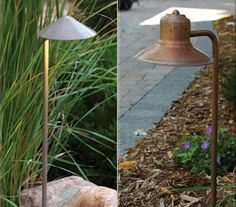 L: TouchStone's low-voltage Coppertino Light features a steel hood and riser with a ten-year warranty. Available in 5 finishes (shown in desert sand); $96 ($132 for LED version). Above, R: Also by TouchStone, the low-voltage Del Otero Light provides soft outward indirect lighting. Available in copper, brass or galvanized steel; $72.