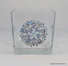 Glass container candy dish votive holder costume pin by swidmom, $12.00