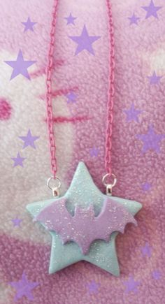 Kawaii Pastel Goth Glitter Bat and Star Necklace on Etsy, $10.00