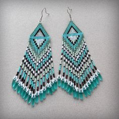 Long Turquoise Beaded Earrings sterling silver by Anabel27shop