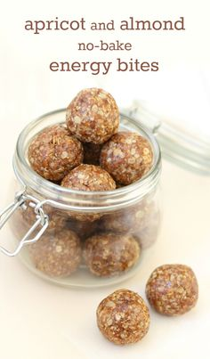 Apricot & Almond No-Bake Energy Bites Recipe – Naturally sweetened, and made in minutes for a fruity, filling, healthy snack! Protein Bites, Protein Snacks, Vegan Snacks, Snack Recipes, Cooking Recipes, High Protein, Oatmeal Energy Bites, Peanut Butter Energy Bites, No Bake Energy Bites