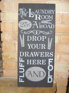 LAUNDRY Typography, Hand Painted Laundry Room Primitive Sign, Home Decor, Subway Art. $24.00, via Etsy.