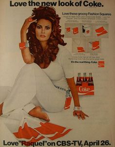 1970 COCA COLA Raquel Welch COKE Vintage Advertisement Television Show Tie-In Merchandise by Christian Montone, via Flickr