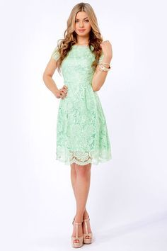 Pretty Mint Dress - Lace Dress And on another note. I love her shoes. Mint Dress Lace, Lace Wedding Dress, Backless Wedding, Wedding Shoes, Mint Green Dress, Wedding Dresses, Pretty Outfits, Pretty Dresses, Beautiful Dresses