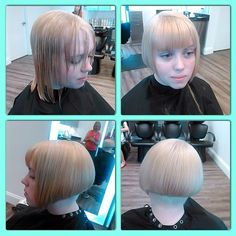 """look at the original length on the """"before"""" photo. would be so easy to do this to most guys, have them bobbed, banged and femmed !"""
