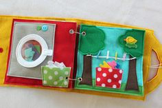 Laundry Day - a double page set to add to your customizable book. A great quiet book activity for an older child to learn about doing laundry! Separate colors and whites, put the laundry in the washing machine and hang the laundry on the clothes line to dry! Quiet Books are a great way to keep your little ones occupied and learning during church, doctors appointments, traveling, or anywhere you need to keep your children quietly entertained! Unique and thoughtful gift idea! Expand and…