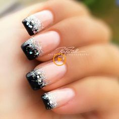 Ongles Black nail polish with glitter # to # with # black # Nails # glitter # Lacquer Keeping Water Black Nail Designs, Nail Art Designs, French Manicure Designs, Glitter Nail Designs, Fancy Nails Designs, New Years Nail Designs, New Years Nail Art, New Years Eve Nails, Pedicure Designs