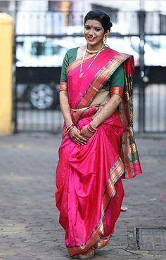 Marathi Nath, Marathi Saree, Marathi Bride, Kashta Saree, Sari, Nauvari Saree, Pure Silk Sarees, Girl Poses, India Beauty