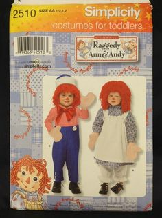 Simplicity 2510 Raggedy Ann and Andy Toddler Costume Pattern Sz 5 2 FF UC | eBay