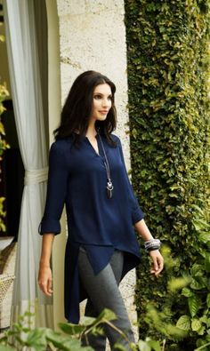 Effortless Chic: A relaxed blouse with asymmetrical hemline adds modern allure to metallic denim. #BlackLabel #chicos