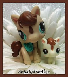 *Littlest Pet Shop* PINTO PONY HORSE MOMMY AND BABY